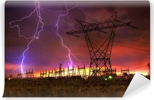 Power Distribution Station with Lightning Strike. Washable Wall Mural