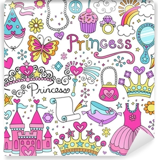 Princess Fairy tale Tiara Notebook Doodles Vector Set Washable Wall Mural
