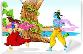 Radha Krishna Playing Holi Washable Wall Mural