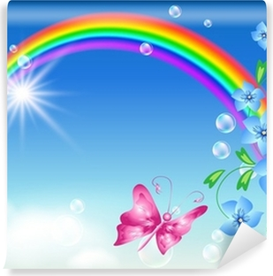 Rainbow in the sky Washable Wall Mural