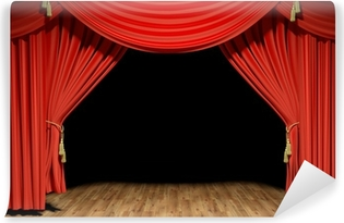 Red stage theater velvet drapes Washable Wall Mural