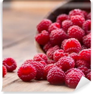 Ripe red raspberries Washable Wall Mural