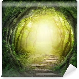 Road in dark forest Washable Wall Mural