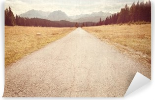Road towards the mountains - Vintage image Washable Wall Mural