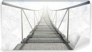 Rope Bridge Above The Clouds Washable Wall Mural
