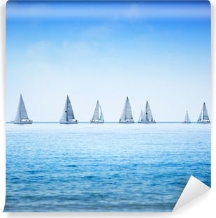 Sailing boat yacht regatta race on sea or ocean water Washable Wall Mural