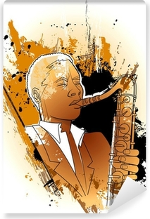 saxophonist on a grunge background Washable Wall Mural