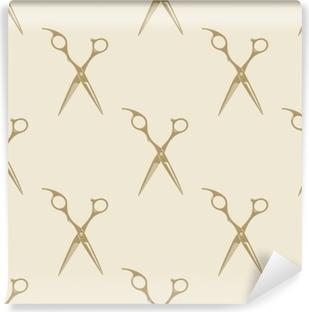 Scissors pattern tile background seamless vintage barber shop symbol emblem label collection Washable Wall Mural