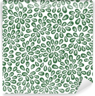 seamless abstract green leaves pattern, foliage vector Washable Wall Mural