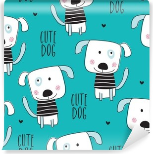 seamless dog pattern vector illustration Washable Wall Mural
