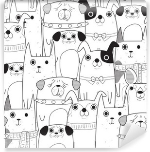 Seamless Dogs pattern Washable Wall Mural