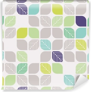 seamless geometric pattern with leaves Washable Wall Mural