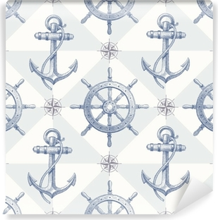 Seamless nautical background with hand drawn elements Washable Wall Mural