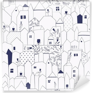 Seamless pattern. Figure cities in vintage style. Washable Wall Mural