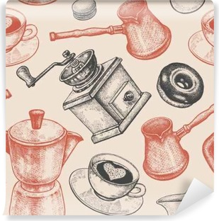Seamless pattern is all about coffee. Washable Wall Mural