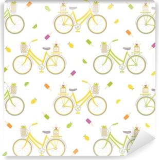 Seamless pattern with colorful bicycle, ice cream and lemons. Great for wrapping paper, posters, backgrounds for the site. Washable Wall Mural