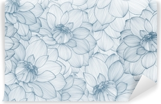 Seamless pattern with hand drawn dahlia flowers. Washable Wall Mural