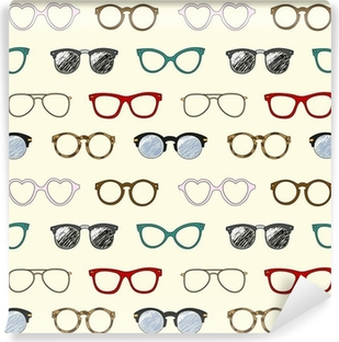 Seamless pattern with retro glasses and frames Washable Wall Mural