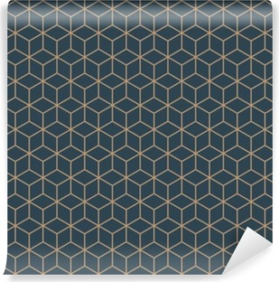 Seamless tan blue and brown isometric cubes pattern vector Washable Wall Mural