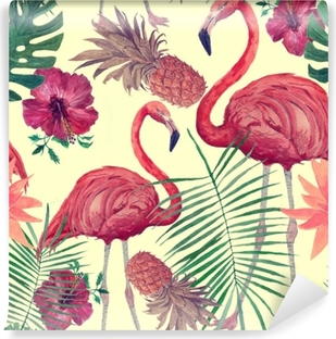 Seamless watercolor pattern with flamingo, leaves, flowers. Hanad drawn . Washable Wall Mural