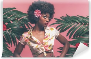 Sensual Afro American Pin-up Between Palm Leaves. Against Pink B Washable Wall Mural