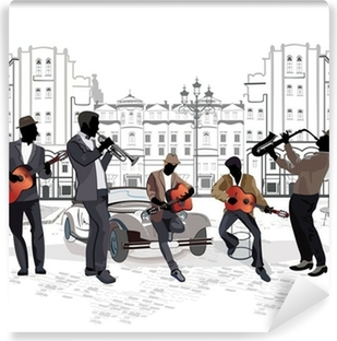 Series of street views with musicians Washable Wall Mural