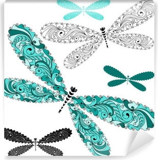 Set lace vintage dragonflies Washable Wall Mural