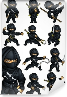 Set of 11 Ninja poses in a black suit Washable Wall Mural