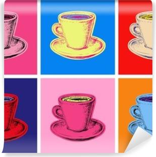set of coffee mug vector illustration pop art style Washable Wall Mural