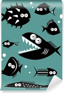 Set of funny fishes Washable Wall Mural