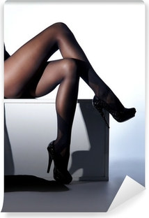 Sexy female legs in black erotic stockings and high heels Washable Wall Mural