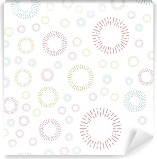 Simple seamless textile pattern with color round elements. Vector background illusrtration. Washable Wall Mural