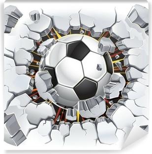 Soccer ball coming through a wall Washable Wall Mural