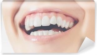 Sorriso denti donna felice Washable Wall Mural
