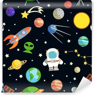Space seamless pattern Washable Wall Mural