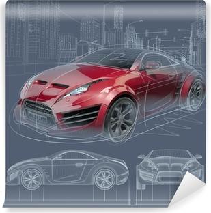 Sports Car Sketch. Original Car Design. Self Adhesive Wall Mural