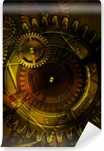 steampunk old gear mechanism on the background of old vintage pa Washable Wall Mural