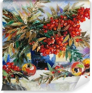 Still-life with a mountain ash and apples Washable Wall Mural