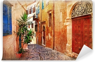strrets of old Greece - artistic picture Washable Wall Mural
