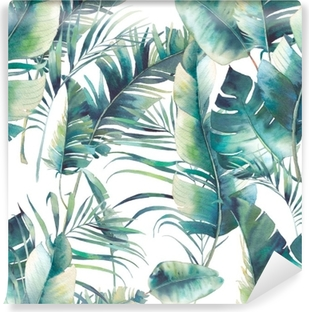 Summer palm tree and banana leaves seamless pattern. Watercolor texture with green branches on white background. Hand drawn tropical wallpaper design Washable Wall Mural