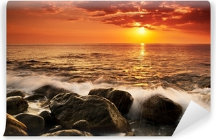 Sunset over the sea Washable Wall Mural