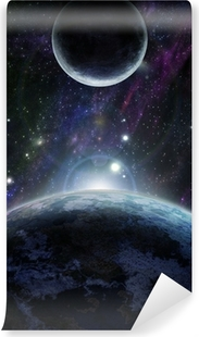 Sunset with two blue planet Washable Wall Mural