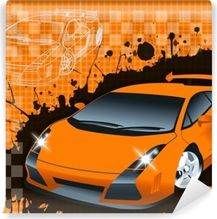 Supercar Background raster illustration. Washable Wall Mural