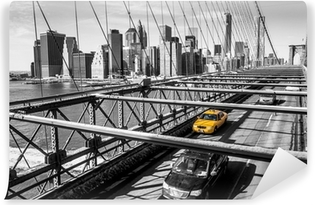 Taxi cab crossing the Brooklyn Bridge in New York Washable Wall Mural