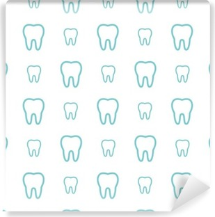 Teeth on white background. Vector dental seamless pattern. Washable Wall Mural