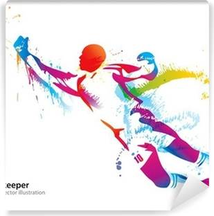 The football goalkeeper catches the ball Washable Wall Mural