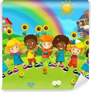 The group of happy preschool kids Washable Wall Mural