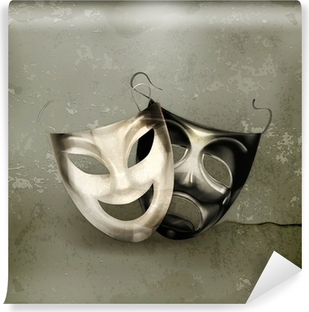 Theater masks, old-style Washable Wall Mural