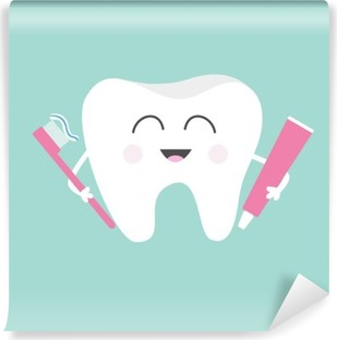 Tooth holding toothpaste and toothbrush. Cute funny cartoon smiling character. Children teeth care icon. Oral dental hygiene. Tooth health. Baby background. Flat design. Washable Wall Mural