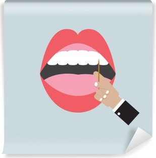 Toothpick In Hand With Open Mouth Vector Illustration Washable Wall Mural